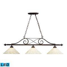 Elk Lighting 63004-3-LED Weathered Bronze Billiards 3 Light LED Pendant - LightingDirect.com
