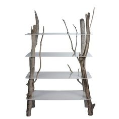 Lacquered aluminum and driftwood shelf Furniture Projects, Furniture Design, Bleu Nature, Oly Studio, Driftwood Shelf, Cafe Concept, Flower Stands, Hooker Furniture, Crate And Barrel