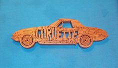 Vintage Corvette Car Scroll Saw Wooden Puzzle