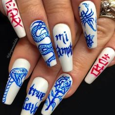 Want some ideas for wedding nail polish designs? This article is a collection of our favorite nail polish designs for your special day. Bad Nails, Aycrlic Nails, Long Nails, Glitter Nails, Dragon Nails, Edgy Nails, Manicure E Pedicure, Fire Nails, Best Acrylic Nails