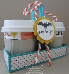 Mini Coffee Cups gift packaging from the Tee-hee-hee halloween stamp set from Stampin Up #stampinup #halloween #minicoffeecup