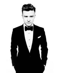 Justin Timberlake in in tux and white tailored shirt dropping new beats