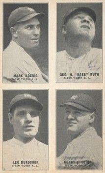 1931 Exhibits Four-On-One Mark Koenig, Babe Ruth, Leo Durocher, Lou Gehrig