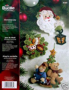 """Bucilla Christmas Joy ~ 6 pce. Felt Ornament Kit #85463, Santa, Toys, 5"""" x 5"""""""