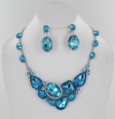Aqua Necklace Set   NS-KM005 S-Indicolite #blingnecklace #blingjewelry #pageantnecklace #pageantjewelry #promnecklace #promjewelry #lmbling