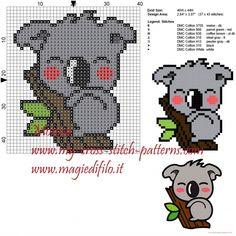 Cute Koala X-stitch pattern Cross Stitch Baby, Cross Stitch Animals, Cross Stitch Charts, Cross Stitch Designs, Cross Stitch Patterns, Loom Patterns, Learn Embroidery, Cross Stitch Embroidery, Embroidery Patterns