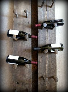 Back in March I shared with you my coat rack made from old railroad spikes. At the time, I wanted to make another project from the railroad spikes and I settled on a wine rack. I knew #2 son, Kevin...