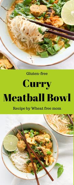 This gluten-free curry meatball bowl is the perfect comfort food on busy weeknights. These curry bowls take less then 30 minutes to make for dinner. Meatball Recipes, Meal Recipes, Gluten Free Recipes, Baked Spaghetti Squash, Spaghetti And Meatballs, Curry Bowl, Pork Noodles, Free Meal, Soups And Stews