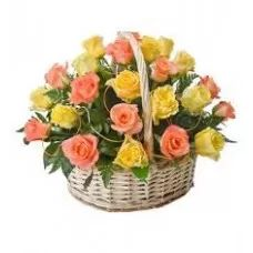 Friends Tribute, Roses Basket, Mixed Roses