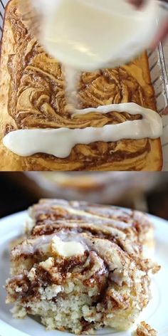 This easy cinnamon roll cake recipe is the best. Get the taste of homemade cinnamon rolls without all the work. You have to try this fun twist on a coffee cake recipe. #eatingonadime #cake #recipes #breakfastrecipes #easyrecipes