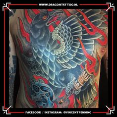 Designed and Tattooed by: Vincent Penning Dragon Tattoo. Tattoo Portfolio, Facebook Instagram, Dragon, Traditional, Bird, Tattoos, Black, Design, Tatuajes
