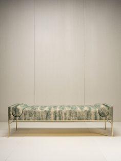 Made in France. Bench Furniture, Steel Furniture, Furniture Design, Lounges, Round Sofa, Interior Decorating, Interior Design, Ottoman Bench, Soft Furnishings