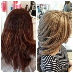 "#ShareIG ""Before & After"" She used to have highlighted hair & then colored it dark. Shes ready to go back to the light side. Our first progress. Can't wait to bring this color even lighter! Hair by Christine Trang   @christines_touch  @christines_touch  @christines_touch"