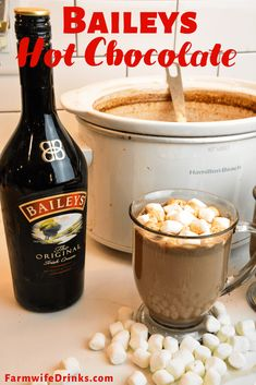 Crock Pot Hot Chocolate - Kahlua or Baileys Hot Chocolate - The Farmwife Drinks