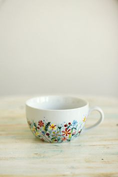 Hand painted porcelain cup and saucer Not Only Grass by roootreee