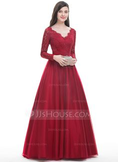 Ball-Gown V-neck Floor-Length Beading Sequins Zipper Up Sleeves Long Sleeves No Burgundy Winter Spring Summer Fall General Plus Tulle US 2 / UK 6 / EU 32 Prom Dress Red Formal Gown, Formal Dresses With Sleeves, Bridesmaid Dresses With Sleeves, Gowns With Sleeves, Red Ball Gowns, Ball Gowns Evening, Ball Gown Dresses, Evening Dresses, Prom Dresses