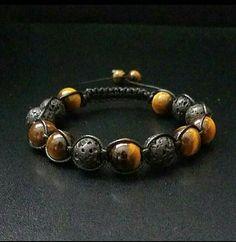 10mm Power Stone Shamballa Macrame Bracelet Tiger Eye Onyx