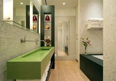 Functional Loft Design for Long and Narrow Loft Building: Comfortable Bathroom Space Inside NYC Loft With Green Sink Floating Vanity Wide Mirror And Green Shelves ~ CLAFFISICA Apartment Inspiration Loft Bathroom, Bathroom Interior, Modern Bathroom, Bathroom Ideas, Design Bathroom, Loft Design, House Design, Studio Design, New Yorker Loft