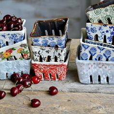 Ceramic berry baskets Handmade pottery from Terre Ferme Pottery & Kentia Naud #wabisabipottery #wabisabikitchen #kitchenware #farmhousekitchen #berrybowl #berrycarton #berrybasket