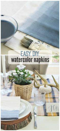 cityfarmhouse Easy DIY Dipped Watercolor Napkins http://cityfarmhouse.com/2015/10/easy-diy-dipped-watercolor-napkins.html via bHome https://bhome.us