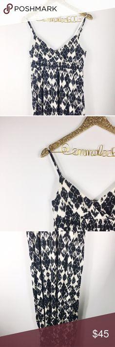 "LOFT Black & White Tribal Print Maxi Dress LOFT black & white tribal print Maxi dress. V-neck with adjustable straps. Super soft! Worn once, perfect condition. Size MP (medium Petite). Length 55.5"", arm to arm across chest 16"". No modeling/trades. LOFT Dresses Maxi"