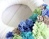 Filo corona feltro porta a mano decorazione - Cool Bloom 12 in