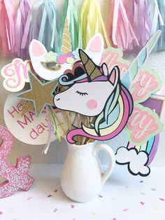 Unicorn Photo Booth Props | Unicorn Party Decor | Unicorn Photo Props | Birthday Party Photo Booth Props | Pastel Party Decor | Rainbow Part by CMCraftStudio on Etsy https://www.etsy.com/listing/533580673/unicorn-photo-booth-props-unicorn-party