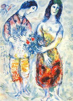 マルク・シャガール『花束を持つ恋人達』