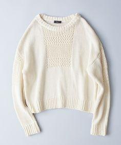 Edition WOMENS(エディションウィメンズ)のEdition コットン 柄編みプルオーバー(ニット/セーター) ホワイト