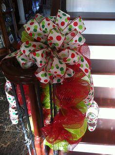 Custom  Christmas Deco Mesh and Ribbon mailbox wrap.. $40.00, via Etsy. Burlap Christmas Decorations, Christmas Lanterns, Christmas Swags, Christmas 2014, Christmas And New Year, Merry Christmas, Mesh Bows, Deco Mesh Wreaths, Wreath Ideas