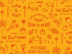 Farm to Table Pattern by Kyle Anthony Miller  Pattern that will be printed on butcher shop paper for packaging.