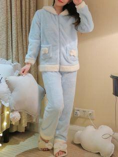 Zip Up Ear Hoodie Plush Pyjama Set -SheIn (Sheinside) – arabic meryem Night Suit For Winter, Night Suit For Girl, Night Dress For Women, Cute Pajama Sets, Cute Pajamas, Girls Pajamas, Cute Sleepwear, Girls Sleepwear, Loungewear
