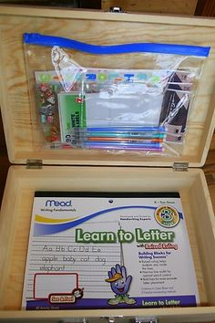Little briefcase for kids, could use for homework or crafts or anything really.  I just love that it's all neat and organized.