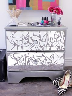 DIY Bedroom Dresser Made of Broken Mirror! This Week's Drab to Fab Column. ***ive done this small scale, but never thought of doing it on our ugly wood dresser!****