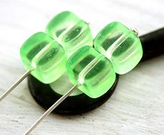 Spring Green cube beads czech glass neon coated  by MayaHoney