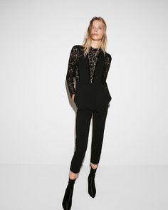 35e6fcf1100 NEW EXPRESS BLACK PIECED LACE JUMPSUIT LONG SLEEVE VELVET TRIM SZ 4  fashion   clothing