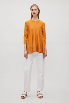 COS image 6 of Knitted top with soft folds in Amber Cos Fashion, Fashion Outfits, Knitwear, Jumper, Cashmere, Normcore, Couture, Clothes For Women, Pretty