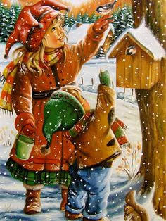Vintage Christmas Art by Ginette Paquette 🎅⛄🎄 Merry Christmas Song, Merry Christmas Everyone, Christmas Scenes, Christmas Clipart, Christmas Printables, Christmas Greetings, Winter Christmas, Kids Christmas, Christmas 2019