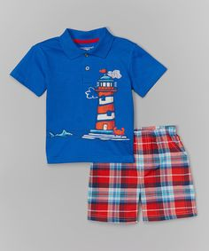 Look at this Kids Headquarters Blue Polo & Orange Plaid Shorts - Infant, Toddler & Boys on #zulily today!