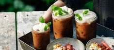 Spiced ice coffee | Recipe from Santa Maria Lassi, Coffee Recipes, Santa Maria, Moscow Mule Mugs, Iced Coffee, Fresh Rolls, Summer Days, Spices, Tableware