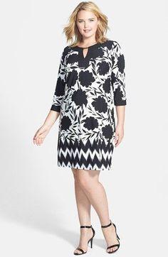 Main Image - London Times Print Sheath Dress (Plus Size) Plus Size Fashion For Women, Plus Size Women, Plus Size Dresses, Plus Size Outfits, Curvy Fashion, Plus Fashion, Casual Dresses, Fashion Dresses, Maxi Dresses