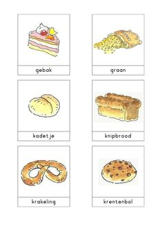 Woordkaarten Bas 'De bakkerij' 2 Dutch Language, Italian Language, Primary School, Elementary Schools, Beautiful Birthday Wishes, Learn Dutch, Little Chef, Fake Food, School Themes