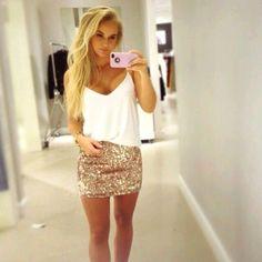 Gold skirt.