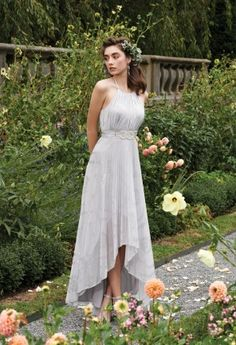 Bridesmaid Dresses - Foil Halter Pleated High Low Long Dress with Belt from Camille La Vie and Group USA
