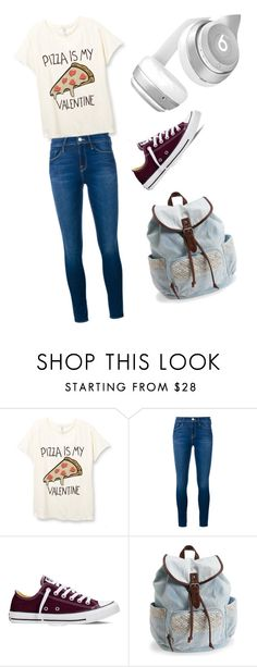 """""""Pizza is my valentine"""" by kroylance ❤ liked on Polyvore featuring Frame Denim, Converse, Aéropostale and Beats by Dr. Dre"""