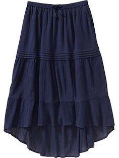 Girls Hi-Lo Crinkle-Gauze Skirts
