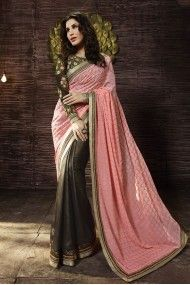 Bollywood Sophie Choudry Shimmer Georgette Designer Saree In Baby Pink and Grey Colour