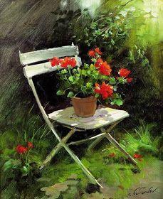 Pinturas que me gustan My Way: patio,carretilla,regadera, ventana... con flores