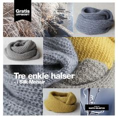Tre enkle halsoppskrifter og to nøster Silk Mohair Knitting Designs, Neck Warmer, Diy And Crafts, Crochet Hats, Sewing, Instagram Posts, How To Make, Gifts, Handmade