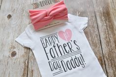 Father's Day Outfit Onesie and Headband / Custom First by iloveco